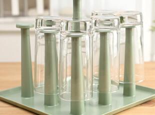 懒角落★创意家居 时尚简约 家用塑料方形 沥水杯架 杯托33422,