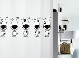 瑞士设计简约 SPIRELLA 防水PEVA 卡通浴帘 黑白比格犬(包邮),