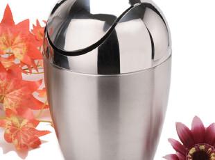 加厚 蛋形不锈钢垃圾桶 果皮 适用客厅 房间 卫生间 4L,