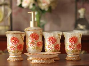 欧式宫庭复古金色玫瑰高档树脂卫浴五件套浴室用品套件卫浴套装,