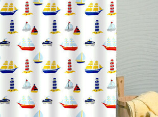 外贸出口加厚防水防霉加厚浴帘帆船 180*180/200(高),