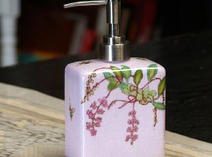 出口欧美/纯手绘陶瓷裂纹釉洗手液瓶/乳液瓶/皂液器/紫底吊钟花,