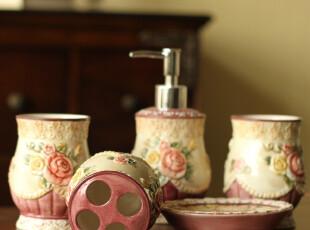 出口高档欧式维多利亚陶瓷浮雕卫浴五件套 浴室套件套装 结婚礼物,