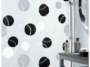 【瑞士设计欧洲品牌】spirella 简约黑灰圆圈PEVA防水浴帘(包邮),