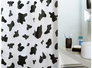【瑞士设计欧洲品牌】丝普瑞 spirella 黑白奶牛纹 PEVA防水浴帘,