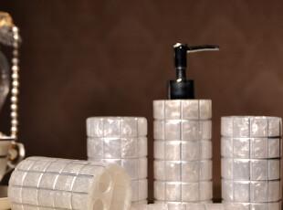 伊莎世家 洗漱用具用品 家居用品5件 树脂卫浴五件套装-银色方格,
