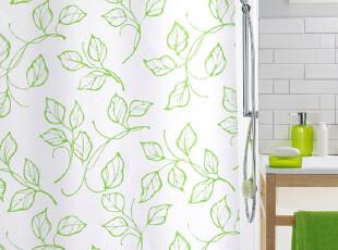 瑞士品牌SPIRELLA Eliane绿色叶子 涤纶布防水浴帘(2012新品),