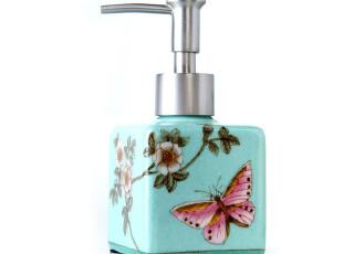 外贸!纯手绘陶瓷裂纹釉乳液瓶时尚创意洗手液瓶套装 祥莲月季花,