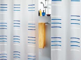 【瑞士设计欧洲品牌】丝普瑞 spirella 蓝色水钻条纹PEVA防水浴帘,