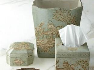 简单的奢华 现货 手工古风亚麻绘色青瓷陶瓷卫浴组件套件 限时9折,