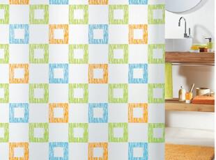 【瑞士设计欧洲品牌】丝普瑞 spirella 彩色方块 PEVA防水浴帘,