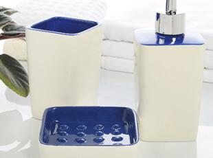 结婚礼物 蓝色手彩陶瓷卫浴三件套 欧式卫浴套装浴室用品套件创意,