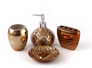欧式浴室用品套件 陶瓷卫浴四件套装古铜色藤条纹结婚礼物创意,