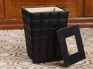 西雅路 黑色羊皮纹垃圾桶时尚创意桌宜家欧式厨房纸篓田园家用,