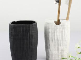 瑞士SPIRELLA 丝普瑞 RETRO陶瓷粗麻布纹 牙刷架漱口杯两件套装,