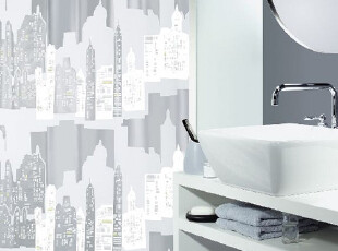 【瑞士设计欧洲品牌】丝普瑞 spirella浴帘 防水PEVA银灰城市轮廓,