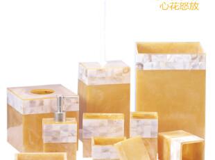 无包装sunforever出口国际同步黄金贝壳树脂卫浴九件套 含马桶刷,马桶配饰,