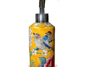 雅佳阁 手绘陶瓷 皂液器 陶瓷沐浴乳液瓶 粉彩洗手液瓶,