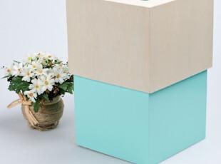 域雅木艺 创意日式木制彩色垃圾桶多色 有配套纸巾盒 隐形垃圾袋,