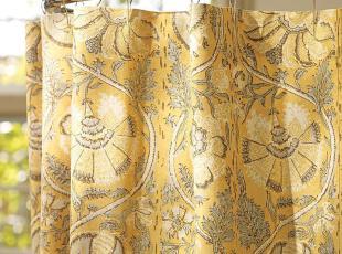 时尚家居 佩内洛普卡里繁花曲线藤蔓的缠绵印花纯棉浴帘欧式,