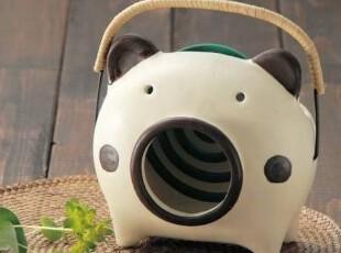 【韩国进口代购】A121 可爱猪猪陶质蚊香架\蚊香座  两色可选,