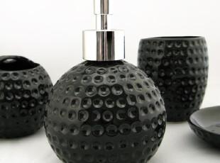 WY125[低调奢华]高档陶瓷卫浴四件套/卫浴套装 高尔夫纹 黑/白色,