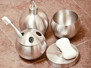 欧式不锈钢球形卫浴套装 卫生间浴室用品套件 刷牙杯子漱口杯韩国,