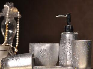 伊莎世家 洗漱用具用品 家居用品5件 树脂卫浴五件套装-水晶之恋,