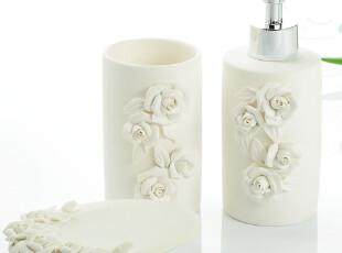 欧式陶瓷素烧立体玫瑰卫浴三件套新婚套装浴室用品套件 结婚礼物,
