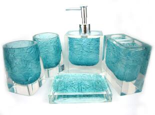 结婚送礼树脂浴室卫浴五件套 内雕叶 绿色,