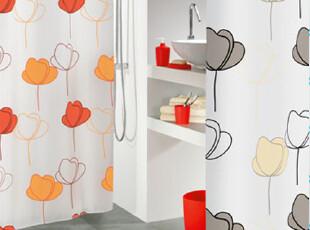 瑞士设计欧洲品牌 丝普瑞 时尚spirella 彩色莲花 涤纶防水浴帘,