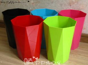 五色 垃圾桶  废纸篓 直立横切面 大号,