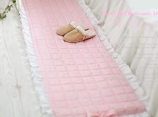*韩国进口家居*n0978 公主蝴蝶结粉色格子衍缝长地垫瑜伽垫,浴室垫,