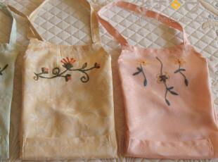A69【香芋谷色】提花缎鲁绣布艺围裙 可爱 日本 手工刺绣 外贸,