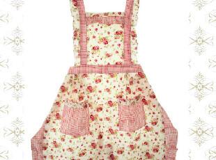 外贸可爱时尚公主外单韩版田园防水粉格紫花结双层围裙,