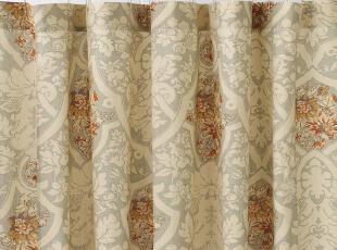 时尚家居 卡蜜拉巴洛克风格淡蓝象牙色优雅花束图案棉麻浴帘欧式,