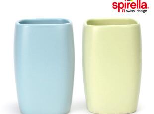 瑞士 Spirella 彩色哑面陶瓷银河简约方形 漱口杯 牙杯 1个,