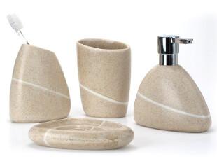 瑞士时尚spirella树脂石头沙黄色浴室卫浴四件套(新品),