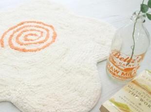 『韩国进口家居』mc1812 可爱的五瓣花朵茸茸地垫 象牙白色,浴室垫,