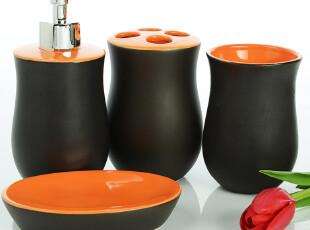 欧式创意红色手彩陶瓷卫浴四件套 结婚礼物套装浴室用品套件包邮,