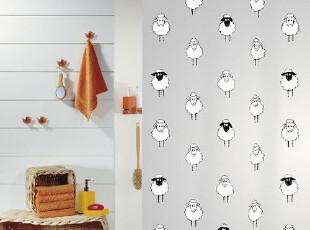 【瑞士设计欧洲品牌】丝普瑞spirella黑白羊群PEVA防水浴帘(包邮),