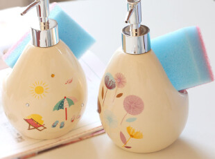 别致の浴室小物.轻质陶瓷小清新大肚款洗手液瓶子/乳液器.2款可选,