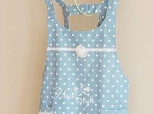 韩国进口代购 韩式圆点蕾丝花边纯棉居家围裙/厨房工作服 蓝色,