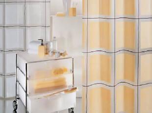瑞士时尚卫浴 SPIRELLA 简约黄底方块PEVA防水浴帘 (包邮),