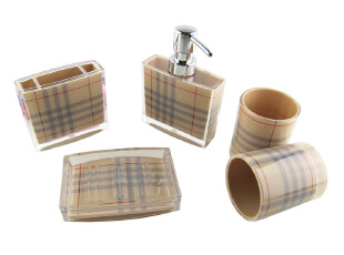 特价包邮家之四季亚克力卫浴五件套 浴室用品套件 洗漱刷牙杯套装,