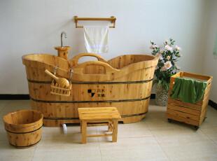 川木木桶 双边木扶手木桶 洗澡桶 高级香柏木浴缸,