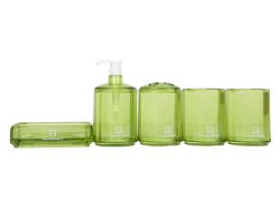 hausgebrauch 时尚浴室用品套件 亚克力卫浴五件套 绿色 H51003,