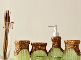 欧式奢华 洗漱用具用品 家居用品5件 树脂卫浴五件套装-绿野仙踪,
