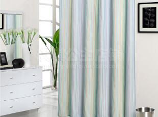 到货-2012欧式清新外贸浴帘-竖条纹 防水防霉+铅线+铜眼+多种尺寸,