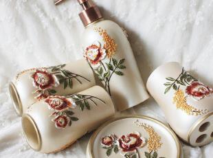 外贸 高档国色天香欧式田园树脂卫浴五件套 新婚乔迁礼物| ,